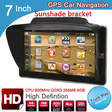 7 inch truck GPS Navigation DDR 256M 8GB MTK CE6.0 navigator maps for navitel/Europe/USA/spanish with sunshade