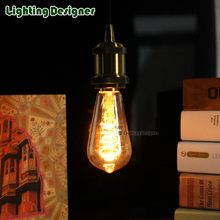 ST58 LED vintage lamp bulb Edison bulb Spiral filament design 110-130V 220V E27 4W pendant light bulb indoor light amber galss
