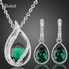 Women Bridal Wedding Jewelry Set Silver Color Necklace Earring Set Green Rhinestone Crystal Water Drop Jewelry Sets