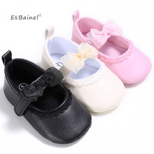 E&Bainel Newborn Baby Girls Shoes PU Leather First Walkers Shoes Black Pink White Baby Shoes