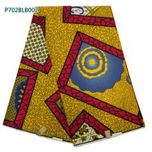 wholesale african real   wax fabric 6yard african veritable  wax  cotton high quality ghana wax print fabric P702BLB002