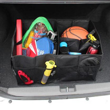 Car 600D Oxford Waterproof Foldable Black Car Boot Organizer Storage Bag Protable Auto Storage Box trunk bag Multi-use Tools(China)