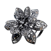 Vintage 3 Color Big Crystal Flower Hair Claws Wedding Hair Clip Women Hair Jewelry With Charm Ancient Silver Hair Accessories