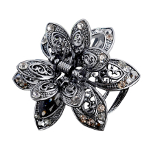 Vintage 3 Color Big Crystal Flower Hair Claws Wedding Hair Clip Women Hair Jewelry With Charm Ancient Silver Hair Accessories(China)