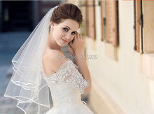 Hot Sale Satin Ribbon Edge Bridal Veil Two Layer Short Wedding Veil Wedding Accessories 2015 For Women