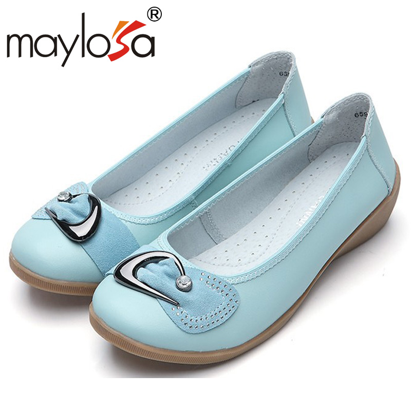 Women Genuine Leather Flat Shoes Woman Handmade Flower Soft Comfortable Casual Shoes Women Flats<br><br>Aliexpress