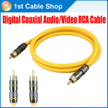 Free shipping High quality Hifi Digital Coaxial Audio/Video RCA Cable Cord M/M RG6U Coax Gold Sub 1.5m/3m/5m/10m/15m available