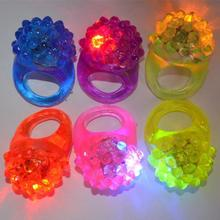 2017 Party Wedding,Fashion Cute Strawberry Finger beams LED Party Glow Light Ring Torch Hot Selling for Holiday 600pcs(China)
