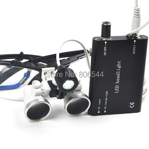 Dental Surgical Medical Binocular Loupes 2.5X 420mm + LED Head Light Lamp Black<br><br>Aliexpress