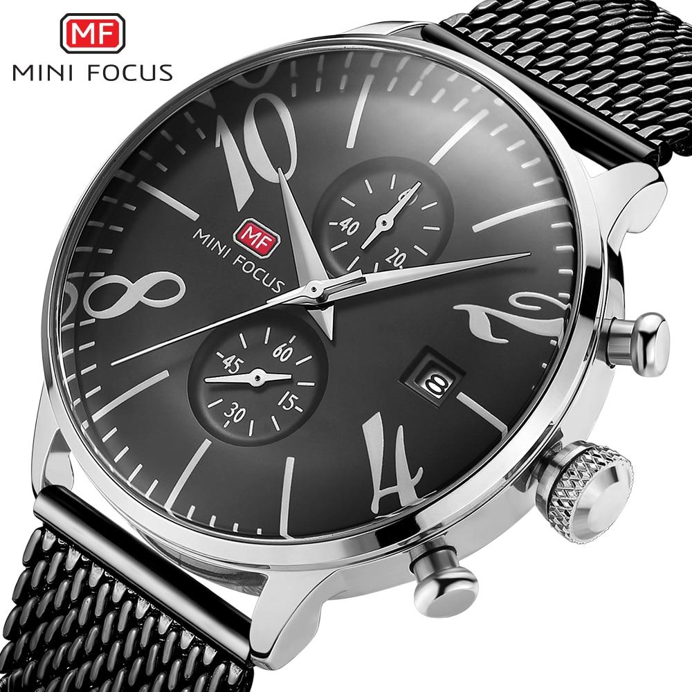 Mens Watches MINIFOCUS Fashion Sports quartz-watch stainless steel mesh Brand men watches Multi-function Wristwatch Chronograph<br>