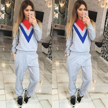 Women Fashion Autumn Tracksuit Printed Woman Hoodies Sweatshirts Hit Color Sweatshirt Long Sleeve Sportwear Suit