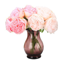 1 Bouquet 5 Head Artificial Peony flower Big size Romantic Bridal Bouquet Leaf Wedding party decor Peonies Fake floral Bush(China)