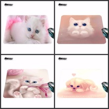 Mairuige New Square Cute Cats White Background Silicon animal Mouse Pads Mat Mice Pad Drop 180*220*2mm And 290*250*2mm(China)