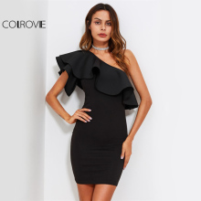 Buy COLROVIE One Shoulder Elegant Party Dress 2017 Women Ruffle Form Fitting Bodycon Summer Dresses Flounce Sexy Mini Club Dress for $15.89 in AliExpress store