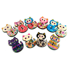 50PCS Colorful Mix Wood Wooden Retro cat Button Sewing Scrapbook Craft DIY Decor(China)