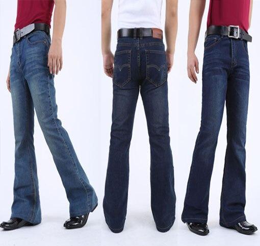 Mens Flared Jeans Boot Cut Leg Flared Slim Fit Mid Waist Classic Denim Jeans Pants Bell Bottom Jeans casual elastic Denim PantsОдежда и ак�е��уары<br><br><br>Aliexpress