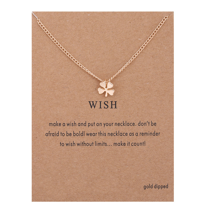 Hot Sale Sparkling Wish Circle Pendant necklace gold-color Clavicle Chains Statement Necklace Women Jewelry(Has card)