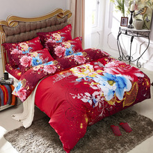 Watercolor Pink and Blue Flowers Red Bedding Set Queen Size King Size Quilt Cover Bed Sheets Pillowcase Pure Cotton Bed in a Bag(China)