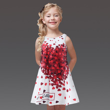 Girls Summer Cute Red Heart Cotton Princess Dress 2-7 Age Baby Girl Clothes Sleeveless Sun Dress Kids Vestidos Infanti 266-D