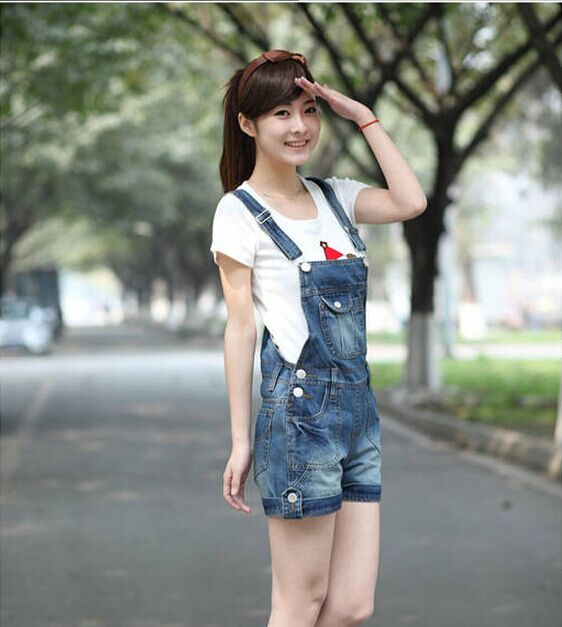 2015 plus size Korean summer lady loose ripped denim overalls casual denim shorts pants suspenders Jumpsuits Rompers women jeansОдежда и ак�е��уары<br><br><br>Aliexpress