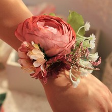 Brides Bridesmaids Wrist Rose Flower Ribbon Corsage Party Prom Bridal Girls Favors Wedding Accessories Supplies