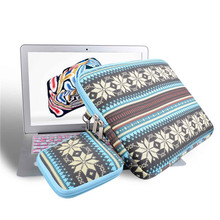 Geometry Ethnic style Canvas Laptop Sleeve Case for macbook air 13 pro retina 13 pc Bag for 13.3inch tablet with mini mouse bag