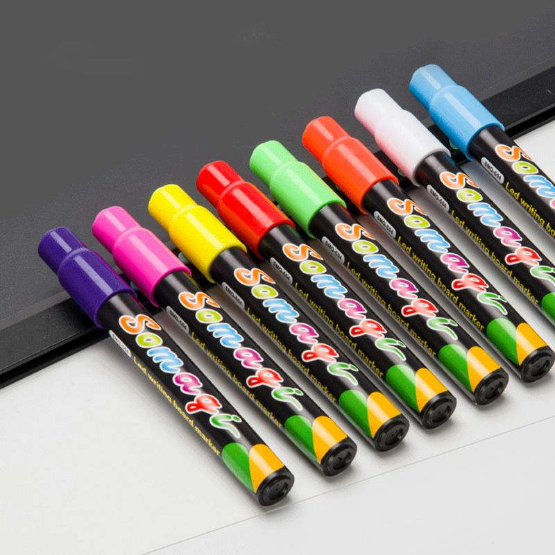 8 Colors Highlighter Fluorescent Liquid Chalk Marker Neon Pen For LED Writing Board Blackboard Glass Painting Graffiti Office Su
