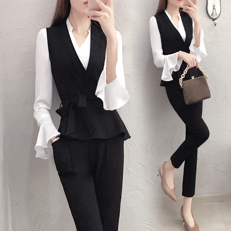 Autumn 2 Piece Set Women Office Lady Top&pants Set Flare Sleeve Trousers Suit Woman Suit Year-old Female Costume Tracksuit