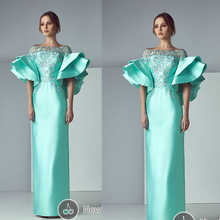 New Evening Gowns Ankle Length Lace Appliques Ruffle Short Sleeve Satin Sheath Satin Evening Dresses Green