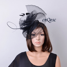 NEW Black Sinamay Hat Fascinator crin fascinator with feathers and long ostrich spine for Kentucky Derby,wedding.FREE SHIPPING