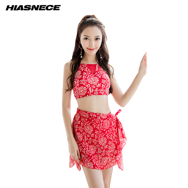 Ladies Retro Bikini Set 3 Pieces Suit with Cover-up Print Swimsuit Beach Wear Swimming Wear 18009<br>
