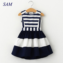 2017 sweet fashion new kids children clothing fashion style sleeveless girls summer dress wind navy striped sling vest dresses(China)