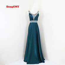 New 2017 Dark Green V-Neck Fashion Formal Robe de soiree Party Plus size long Evening Dress