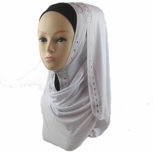 Hot Popular cotton jersey Rhinestone Muslim PURE Hijab Fashion Islamic Scarf , Free Shipping PHS001