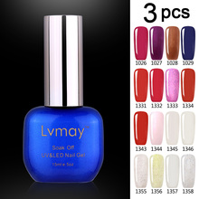 3 Jars Lvmay Artistl Acrylic Nails White Red Blue Color Best Gel Nail Polish Kits Salon Soak Off Home DIY Products Fast Shipping