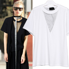 TWOTWINSYLE 2017 Summer Women Grid Backless T Shirt Tops Female Short Sleeves Hollow Out Tee Clothes Korean Big Sizes Vogue New