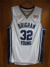 Aembotionen Jimmer Fredette #32 Brigham Young Blue/White Retro Throwback Stitched Basketball Jersey Sewn Camisa Usa Flag Logos