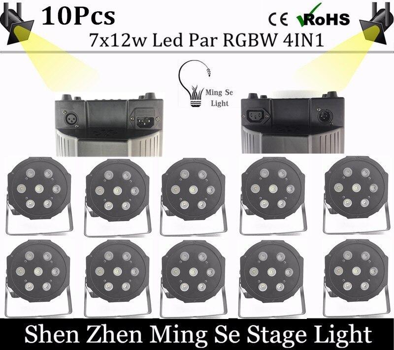 2016new led par 10pcs /lots  7x10W led Par lights RGBW 4in1 flat par led dmx512 disco lights professional stage dj equipment<br>