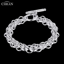 CHRAN Lovely Silver Plated Friendship Bracelets Elegant Chain Designs Bridal Party Jewelry Cuff Bracelets(China)