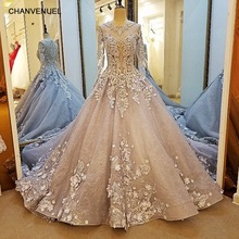 LS38520 long sleeve evening dress lace A line zipper back gray 3D flowers mother of the bride dresses abendkleider real photos