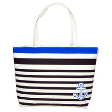 Hot Sale Cheap Canvas Bag Women Ladies Blue Anchor Striped Shopping Shoulder Bags Big Tote Fashion Casual Handbag Beach Bags
