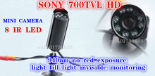 Mini CCTV Camera in Security Camera Outdoor Invisible 8 PCS 940NM Not visible LEDS Sony 700tvl mini Bullet PEN Camera
