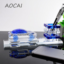 K9 blue car Crystal Pen Pencils Holder Remote Control Case Box Business Card Stand Desk Organizer Set Office Table Accessories