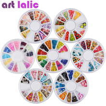 200pcs 3D Cake Candy Butterfly Peacock Christmas Bow Tie Fimo Nail Art Nail Tips Polymer Clay Slices Decoration Wheel