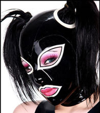 Buy 0.6MM Thickness Sexy Latex Hood Back Zipped Black Latex Mask White Trim (NO HAIR)