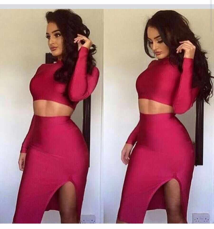 Wholesale women new red maroon long sleeve two piece set sexy bodycon  celebrity party club dresses 09e43b491ff0