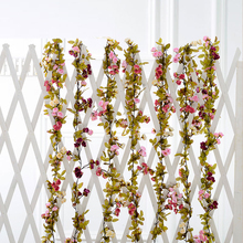 New Wedding decoration Artificial Fake Silk Rose Flower Vine Hanging Garland Wedding Home Ceiling Decor Plastic Flower Vine(China)