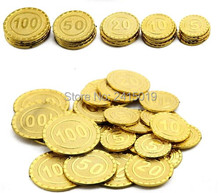 Free ship cool 100pc plastic Spanish pirate treasure gold coins props toys for Birthday party favors cosplay kids hours fun(China)