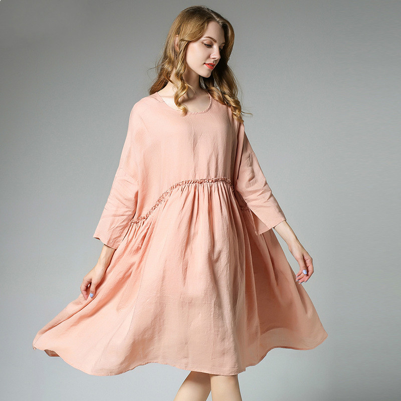 New Spring Autumn Cotton Flax Maternity Dresses Black/pink Fashion Causal Knee-length Pregnancy Clothes and Dress For Age 25-35T<br>