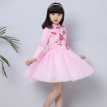 2017 autumn girls dresses children's clothing national winds cheongsam kids princess dresses blue and white